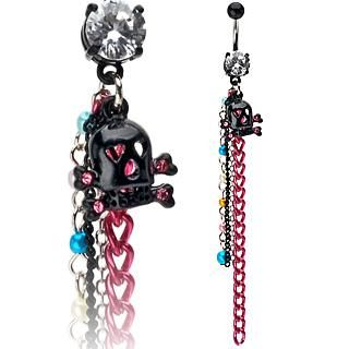 Black Skull Bones Chain Dangle Belly Ring Navel CZ Button Piercing