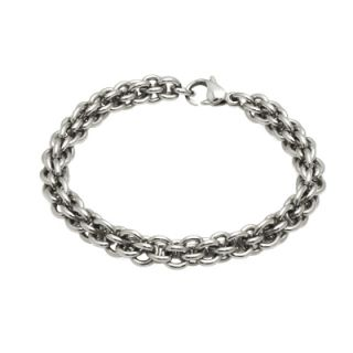 Stainless Steel Linked Chain or Bike Chain w Rubber Bracelet