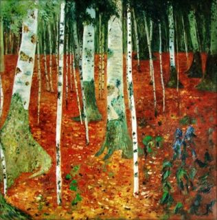 Painted Oil Painting Repro Gustav Klimt Farmhouse with Birch Trees