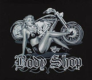 Biker Logo Body Shop Pinup Chopper Bike T Shirt
