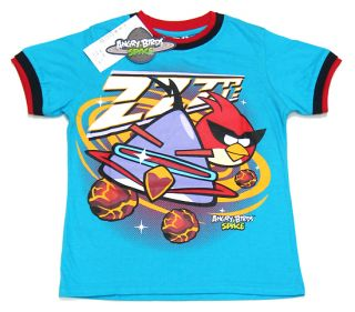 New Angry Birds Space Blue Cotton Boy Kid T Shirt Size 6 12 14 Age 5