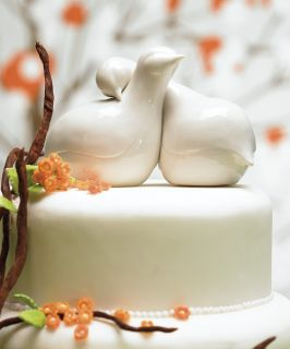Love Bird Theme Wedding Cake Top Topper Couple White Porcelain