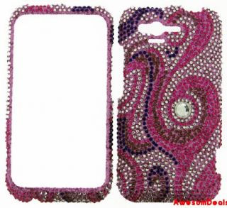 Cell Phone Cover Crystal Bling Case for HTC Rhyme ADR6300 Pink Swirl