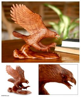 Eagle Landing Bali Hand Carved Art Sculpture Statue