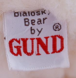 Gund 1984 Bialosky Teddy Bear White Stuffed Plush Toy