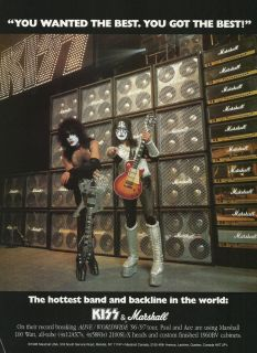 1996 Marshall KISS Ace Frehley & Paul Stanley Amplifier Promo Ad