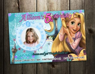 Tangled Rapunzel Birthday Party Invitation Photo Card Custom Invite 3