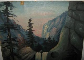 RARE Rocky Mountains Joe Painting 1905 Boulder Colorado Civil War Folk