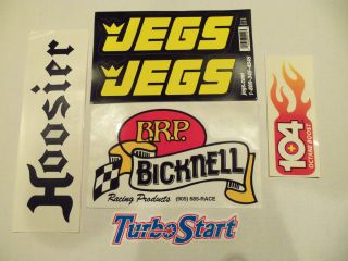 Hoosier tires 104 Octane BRP Bicknell Racing bumper stickers decals