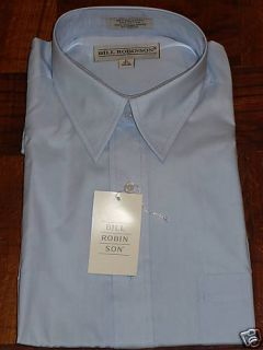 Mens Large 16 Bill Robinson Light Blue Dress Shirt New