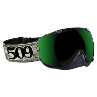 GOGGLES BY 509 SNOWMOBILE DOLLAR BILL W GREEN MIRROR ROSE TINT LENS