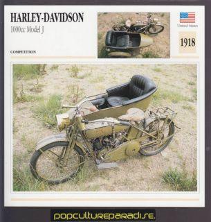 1918 Harley Davidson 1000cc Model J w Sidecar Bike Card