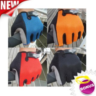 Cycling Bicycle Bike Antiskid Palm Fingerless Half Finger Gloves Size