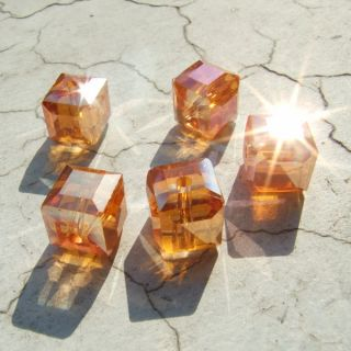 New F P10pcs Faceted Glass Crystal Square Beads 10mm Orange