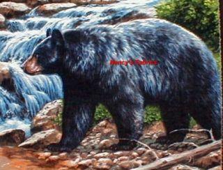 Kings Dominion Black Bear Fabric Pillow Panel Set of 4