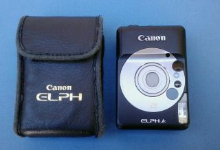 Canon ELPH Jr Black Film Camera with Leather Case