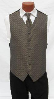 Mens Bill Blass Gold Fullback Vest Tie Formal Wedding Medium Med M