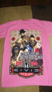 Black Eyed Peas Fergie Tour T Shirt Top Size M Pink 2006 Civic Tour