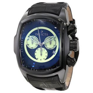 Invicta Lupah Revolution Chronograph Leather Strap Black Dial Mens