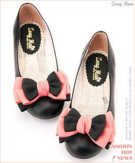 BN Women Big Bow Comfy Flats Shoes Black, Light Pink, Pink, Brown