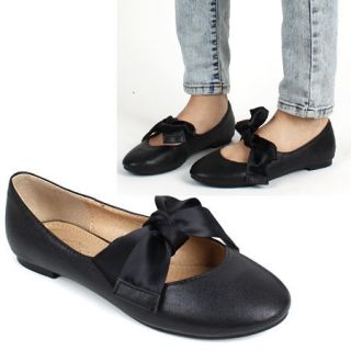 Womens Chic Big Ribbon Flat Mary Janes Shoes Black