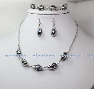 Beautiful Black Real Pearl Necklace Bracelet Earrings Fashion Jewelry