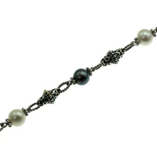 Sterling Silver 14k Gold Black and White Pearl Bracelet