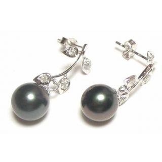9mm Tahitian Black Pearl 14K White Gold 0.12 ct Diamond Earrings