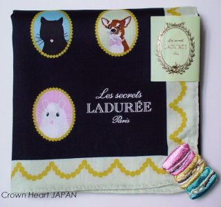New LADUREE Paris Handkerchief Mini Scarf Black Dog Cat Macarons JAPAN