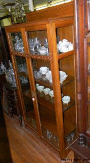 Antique Victorian Quartered Oak Glass Door China Cabinet Bookcase w 4
