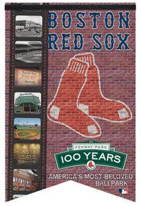 100 Years Boston Red Sox Premium Felt Commemorative Banner Flag