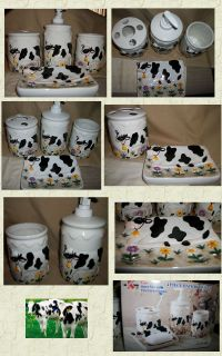 Black and White Cows Ceramic 4P Bathroom Set Toothbrush Cup Dish Soap