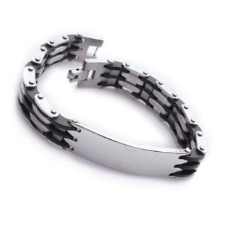 ID Bike Chain Stainless Steel Mens Bracelet 8 9 B336