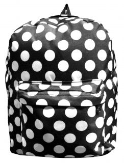Black & White Polka Dot Print Backpack Travel School Book Bag w