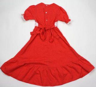 Vintage 70s Lace Prairie Swiss Dots Maxi Dress Girls 4 EXC