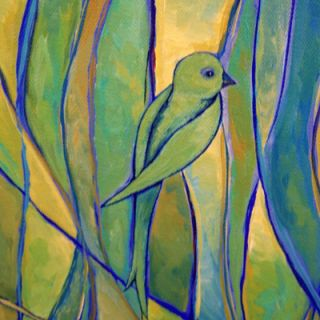 Modern Contemporary Abstract Bird Painting Art Blue Green