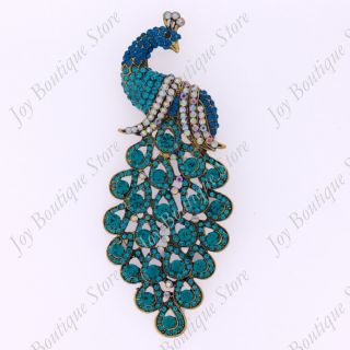 Crystal Rhinestone Huge Peacock Phoenix Bird Fashion Pin Brooch