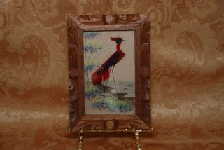 VINTAGE MEXICAN FEATHER FOLK ART BIRD IN A HAND CARVED FRAME