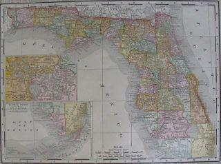 FLORIDA. COUNTIES, RAILROADS, EVERGLADES, ORIGINAL ANTIQUE STATE MAP