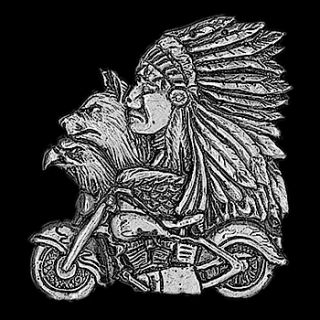 WOLF, INDIAN, EAGLE & MOTORCYCLE, motorcycle biker jacket or vest pin