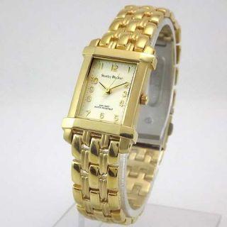 Stanley Blacker Womens Gold Tone Rectangular White Dial Bracelet