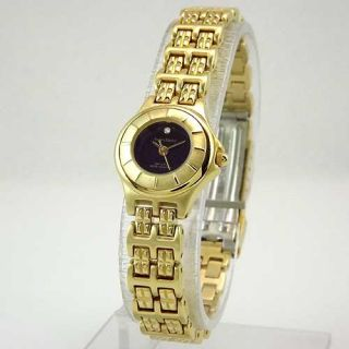 Stanley Blacker Womens Gold Tone Black Dial Austrian Crystal Bracelet
