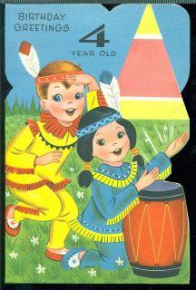 Vintage Greeting Card Birthday Greetings 4 Year Old Boy Girl Dressed