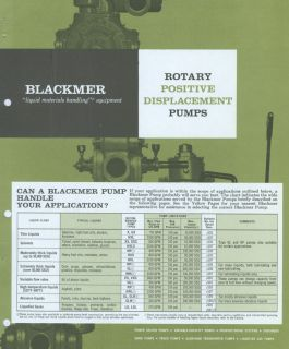 Dover Blackmer Pump Catalog Asbestos Packing Foods Liquids Processing