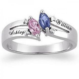 Sterling Silver Couples Marquise Name Birthstone Ring