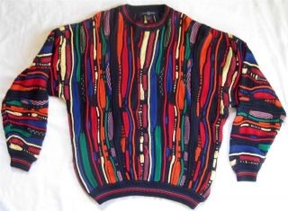 Vintage Bill Cosby Sweater Size L Cotton Vivid Bright Textured Navy