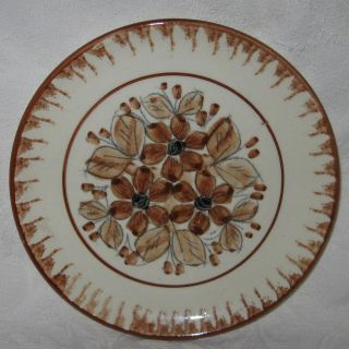 Mexican Pottery Salad Plate Brown Flowers Floral Blair Mexico