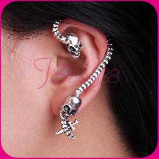 Silver Tone Antique Skull Bite Ear Cuff Wrap Earring Hot Gift