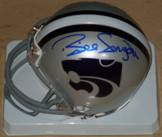 KANSAS STATE BILL SNYDER SIGNED AUTOGRAPHED MINI HELMET JSA PROOF