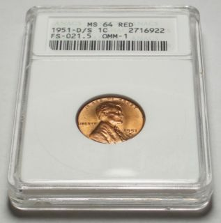 1951 D OVER S Lincoln Cent ANACS MS64 RED Over Mint Mark ERROR, In